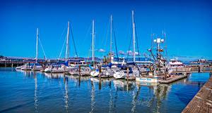 Фото США Причалы Парусные Яхта Калифорния Залив Saulsalito