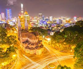 Фото Вьетнам Дома Дороги Уличные фонари Ночные Saigon Города