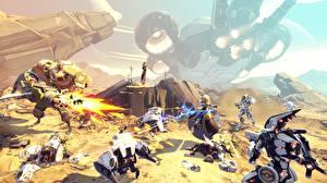 Фотографии Воины Battleborn Робот Стрельба Игры 3D_Графика