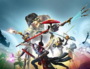 Картинки Воины Battleborn Мечи Игры 3D_Графика
