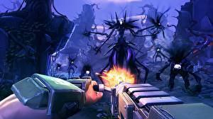 Картинки Воины Пулеметы Battleborn Выстрел Игры 3D_Графика