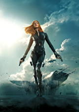 Обои Воители Пистолет Супергерои Первый мститель: Другая война Scarlett Johansson Рыжая Black Widow кино Девушки