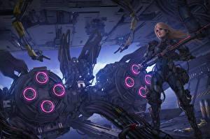 Обои Воины Техника Фэнтези Иллюстрации к книгам Michael Cooper, The Aeon 14 Universe Девушки