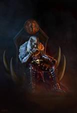 Обои Воины Трон Сидит