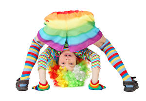 Фотография Белый фон Девочки Униформа Клоун Ребёнок