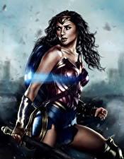 Фотографии Чудо-женщина герой Чудо-женщина (фильм) Рисованные Воители Галь Гадот Кино Девушки