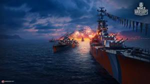 Фото World Of Warship Корабли Фейерверк