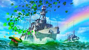 Фото World Of Warship Корабли Золото Американские Шляпа Marblehead Игры