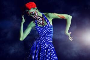 Картинка Зомби Хеллоуин Платье Девушки
