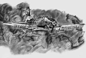 Фотография Самолеты Рисованные Черно белое Американские Летящий Douglas A-1 Skyraider Авиация