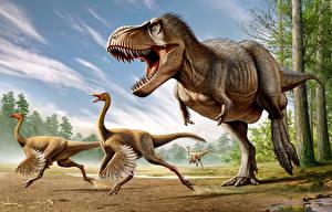 Обои Древние животные Динозавр Тираннозавр рекс Struthiomimus