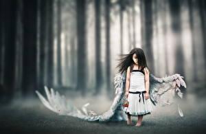 Фотография Ангелы Азиаты Девочки Крылья Брюнетка Дети