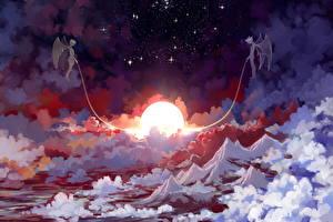 Фотографии Ангелы Демоны Ночь Солнце Облака Sleeping sun Фэнтези