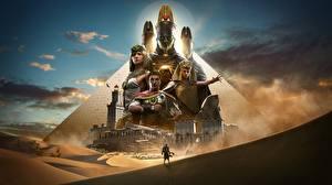 Картинки Assassin's Creed Origins Египет Воители Пирамида Игры