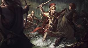 Фотография Сражения Солдаты Лучники Воины Мечи Щит Броня The Battle of the Teutoburg Forest  in 9 CE Фантастика