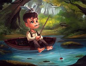 Картинки Лодки Пруд Ловля рыбы Удочка Мальчики