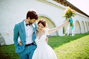 Фото Букеты Жених Невеста Свадьба Улыбка Счастливые Девушки