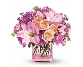 Картинки Букеты Лилии Розы Хризантемы Белый фон Ваза Цветы