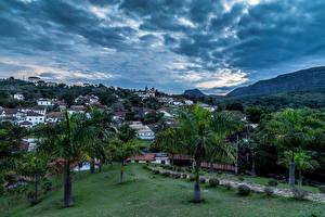 Фотография Бразилия Дома Пальмы Облака Tiradentes Города