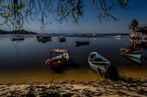 Картинка Бразилия Речка Пристань Лодки Вечер Рио-де-Жанейро Природа