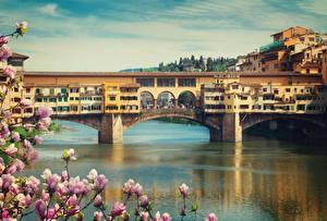 Фото Мосты Реки Дома Италия Ponte Vecchio, Florence