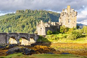 Фотографии Замки Мосты Шотландия Castillo de Eilean Donan Природа
