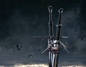 Обои Крупным планом Ведьмак 3: Дикая Охота Мечи Игры