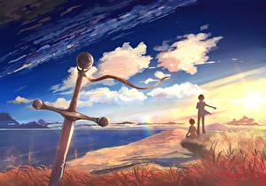 Картинка Побережье Небо Мальчики 2 Мечи
