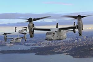 Обои Конвертоплан Полет Osprey, MV-22B Авиация