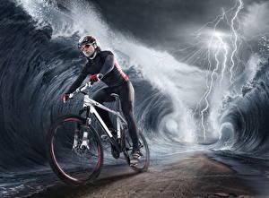 Картинка Оригинальные Волны Молния Велосипед