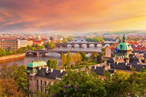 Обои Чехия Прага Дома Реки Мосты Утро
