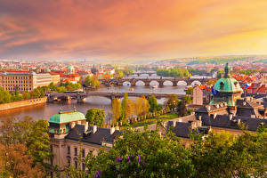 Обои Чехия Прага Дома Реки Мост Утро Города