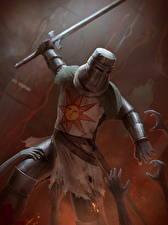 Картинки Dark Souls Рыцарь Мечи Броня Игры