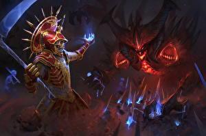 Картинка Diablo 3 Воины Волшебство Коса (оружие) Necromancer vs Diablo Фэнтези