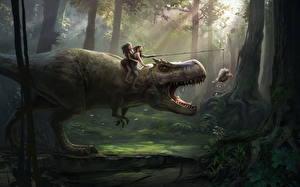 Обои Динозавры Деревья Смешные Фэнтези