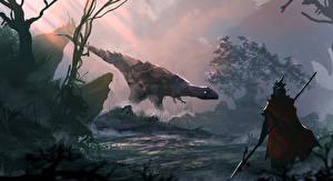 Обои Динозавры Воины Копья Плащ Фантастика