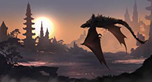 Картинка Драконы Крылья Полет Фэнтези