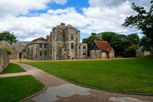 Картинки Англия Замки Газон Carisbrooke Castle Города
