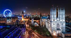 Обои Англия Здания Собор Лондон Ночные Колесо обозрения Города