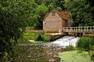 Фотографии Англия Дома Река Sturminster Newton Природа