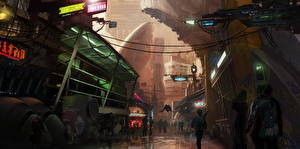 Обои Фантастический мир Star Citizen Улица Города Фэнтези