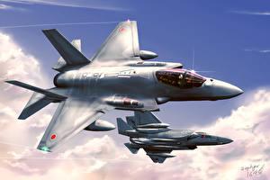 Фотографии Самолеты Истребители Рисованные Японские F-35J ASDF-X1 Авиация