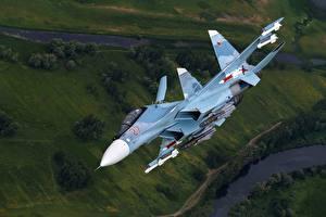 Картинки Самолеты Истребители Су-30 Летящий Русские SM Авиация