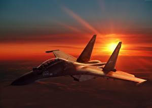 Картинки Самолеты Истребители Су-30 Рассветы и закаты Русские Авиация