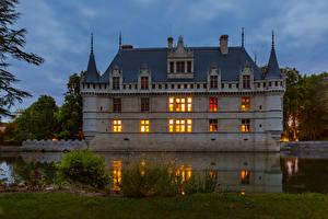 Фото Франция Замки Вечер Пруд Chateau Azay-le-Rideau Города