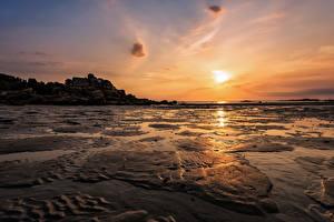Обои Франция Рассветы и закаты Берег Небо Kerficien Brittany Природа