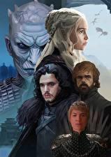 Обои Игра престолов (телесериал) Emilia Clarke Питер Динклэйдж Воины Кино Jon Snow Фильмы Знаменитости