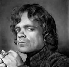 Картинка Игра престолов (телесериал) Мужчины Питер Динклэйдж Взгляд Черно белое Голова Tyrion Lannister Знаменитости