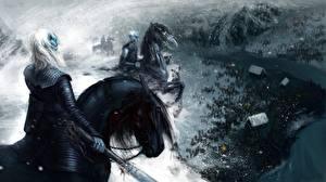 Картинки Игра престолов (телесериал) Воители Лошади Фан АРТ