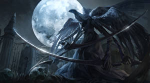 Фотографии Готические Чудовище Луна Сабли Крылья bloodborne Игры Фэнтези